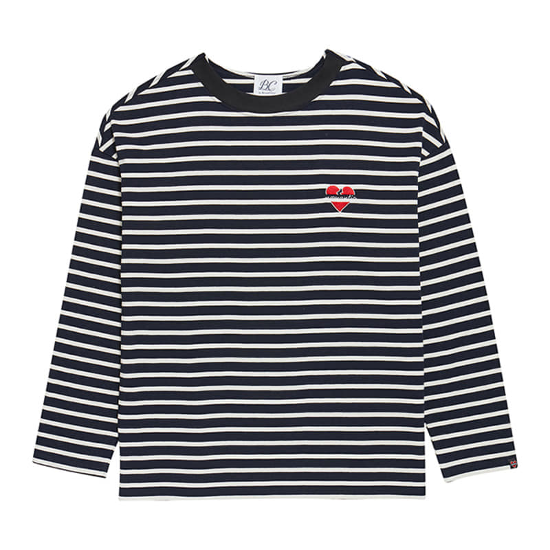 NOMANTIC COMBINATION OVERSIZE STRIPE T-SHIRTS NAVY