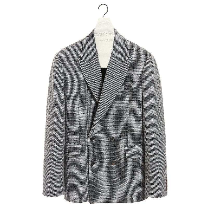 CLASSIC LEATHER LOGO CHECK DOUBLE JACKET GRAY