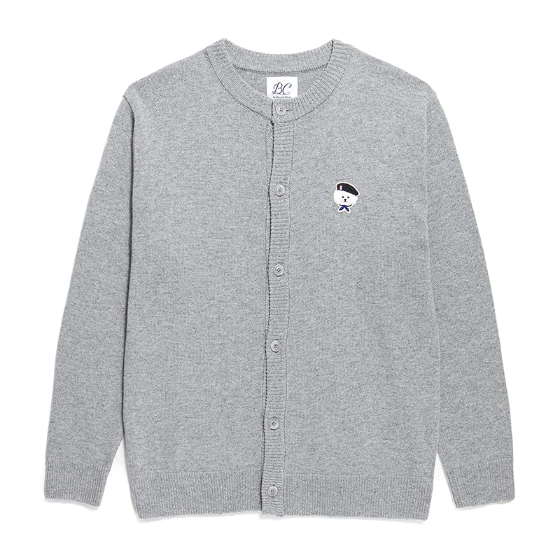 ILP SIGNATURE PARIS LOGO ROUND KNIT CARDIGAN GRAY