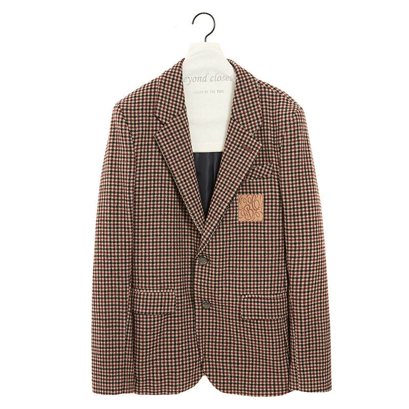 CLASSIC LEATHER LOGO CHECK SINGLE JACKET BEIGE