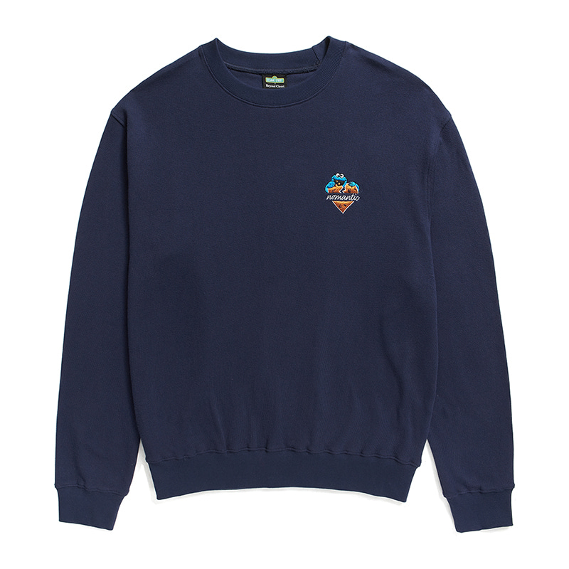 [B.C X S.S]COOKIE MONSTER HEART LOGO SWEAT-SHIRTS NAVY