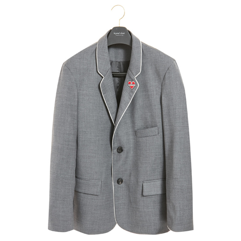 NOMANTIC PIPING WOOL JACKET GRAY