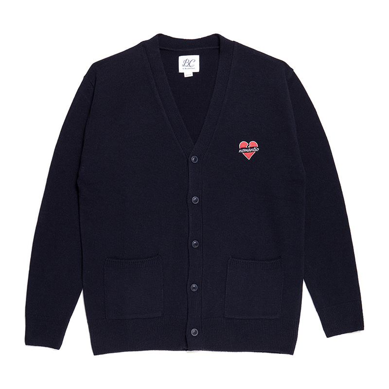 NOMANTIC LOGO KNIT WOOL CARDIGAN NAVY