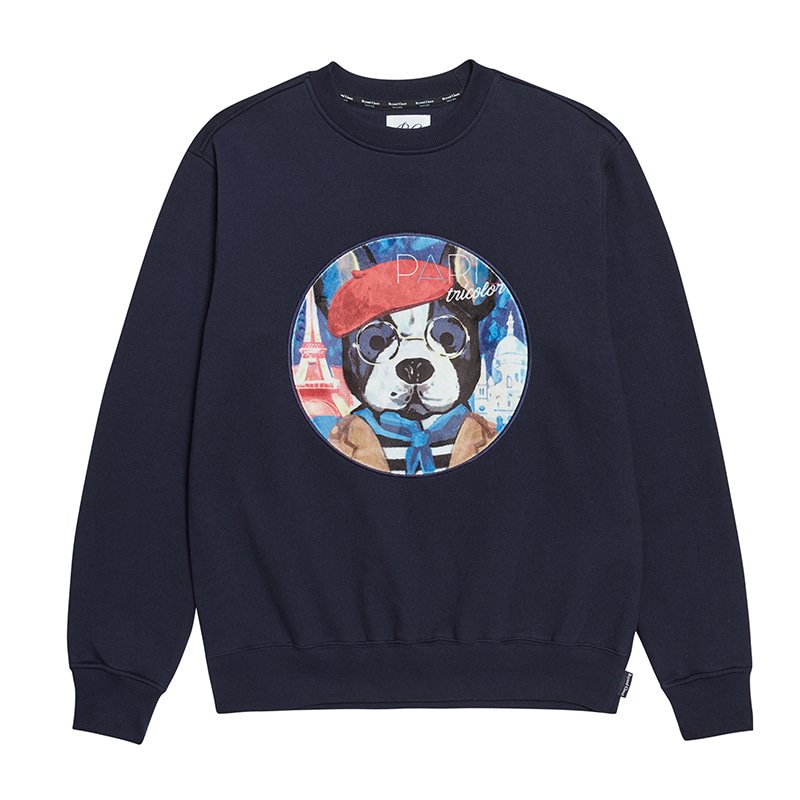 [기모]ILP PARISIEN DOG PATCH SWEAT-SHIRTS NAVY