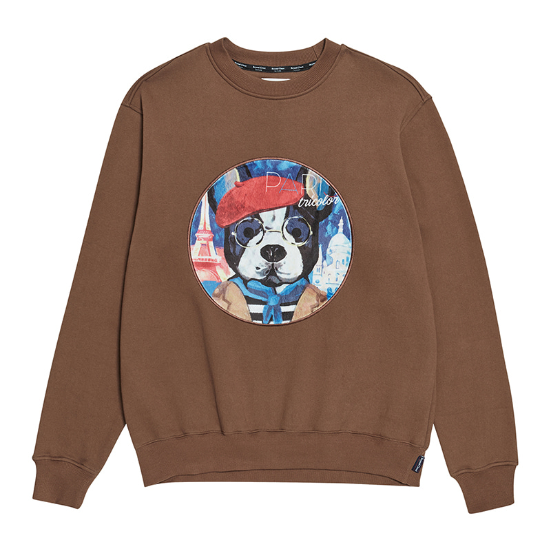 [기모]ILP PARISIEN DOG PATCH SWEAT-SHIRTS BROWN