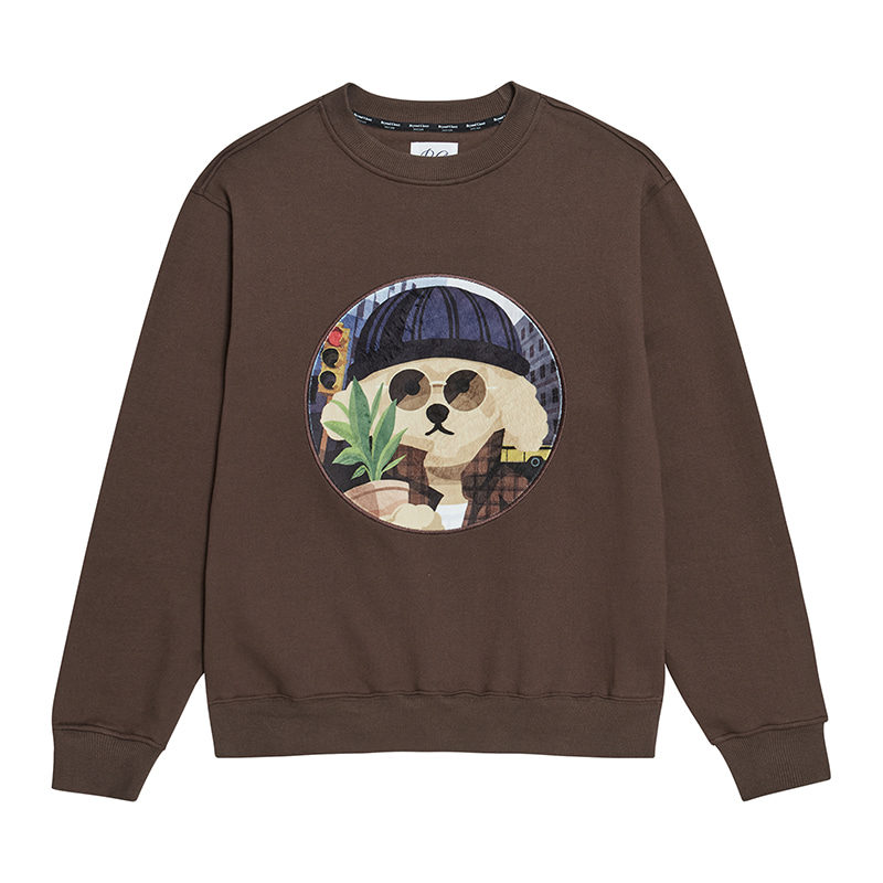 [기모]MOVIE MAN DOG PATCH SWEAT-SHIRTS 2019FW BROWN