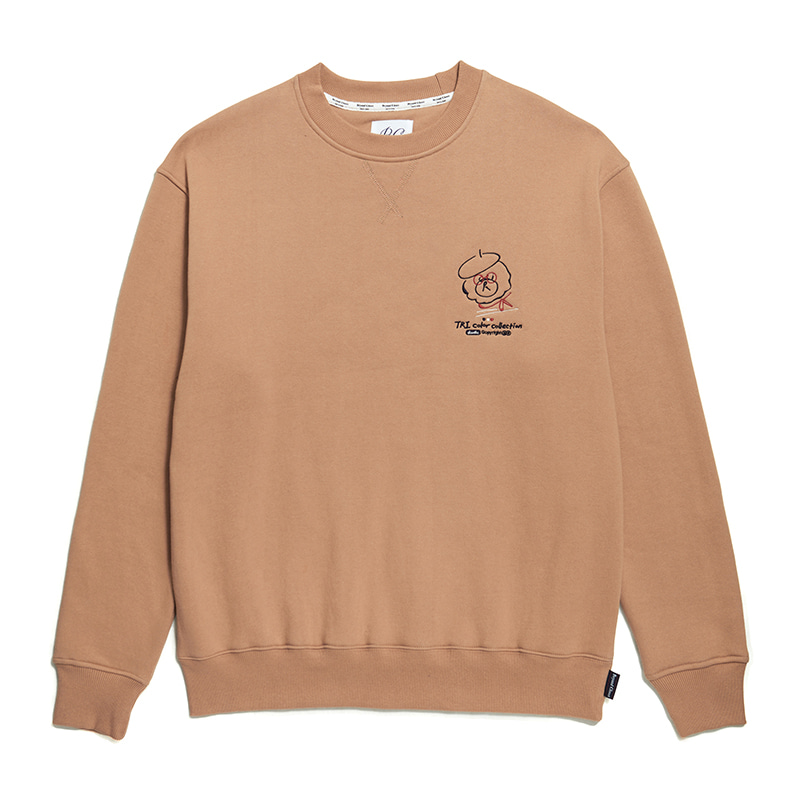 [기모]ILP PARIS TRICOLOR DOODLE SWEAT-SHIRTS BEIGE