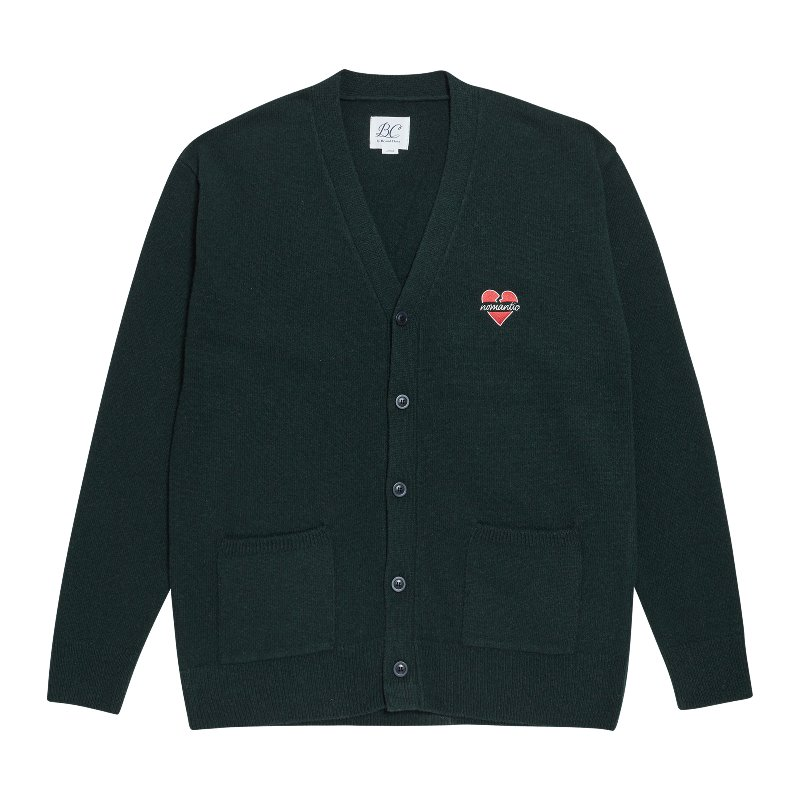 NOMANTIC LOGO KNIT WOOL CARDIGAN GREEN