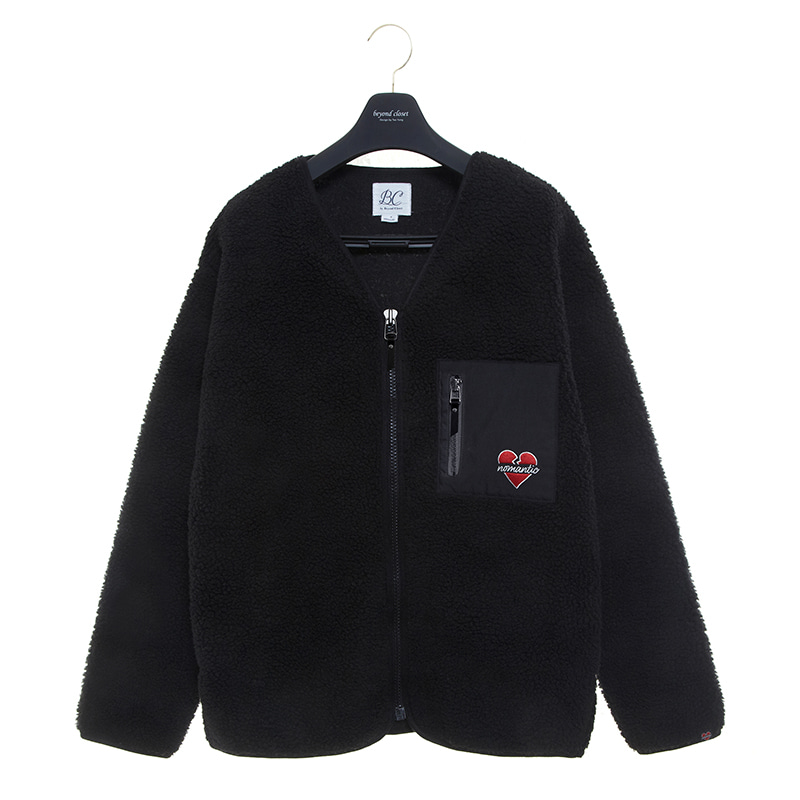 NOMANTIC LOGO ECO-FUR ZIP-UP JUMPER 2019FW BLACK
