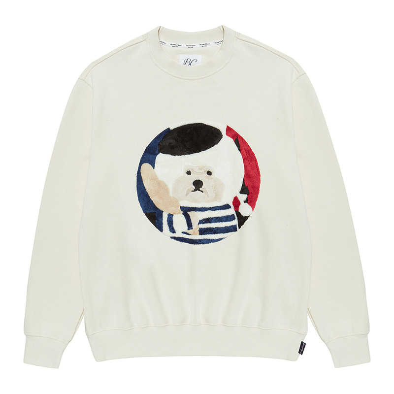 [기모]PARIS DOG HAIR PATCH SWEAT-SHIRTS IVORY