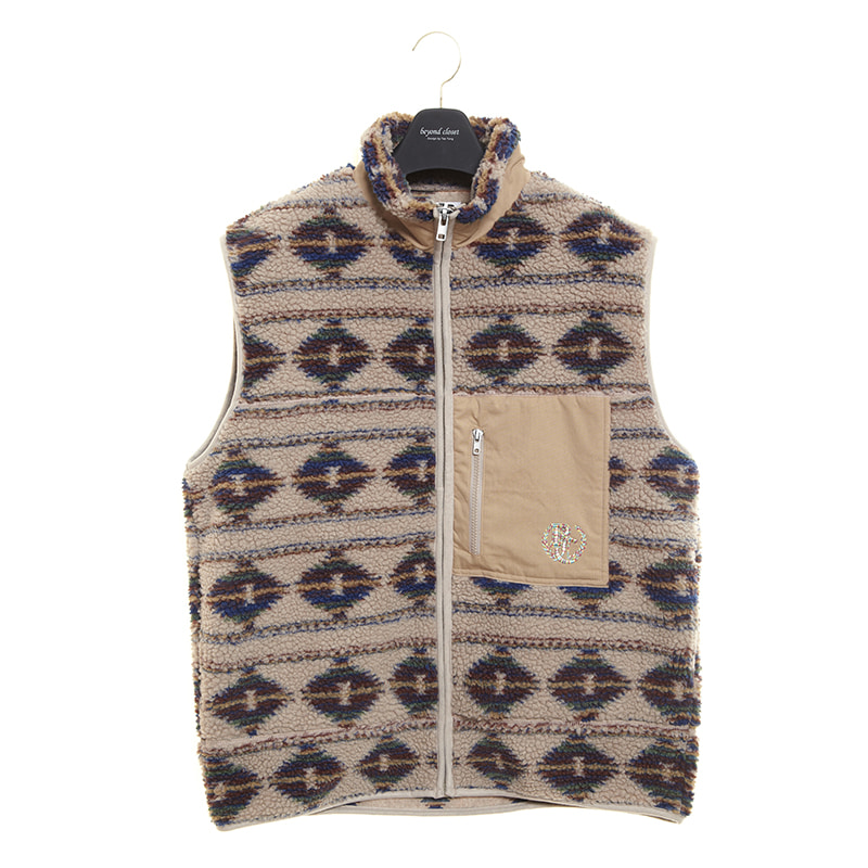 CLASSIC PATTERN ECO-FUR VEST ZIP-UP BEIGE