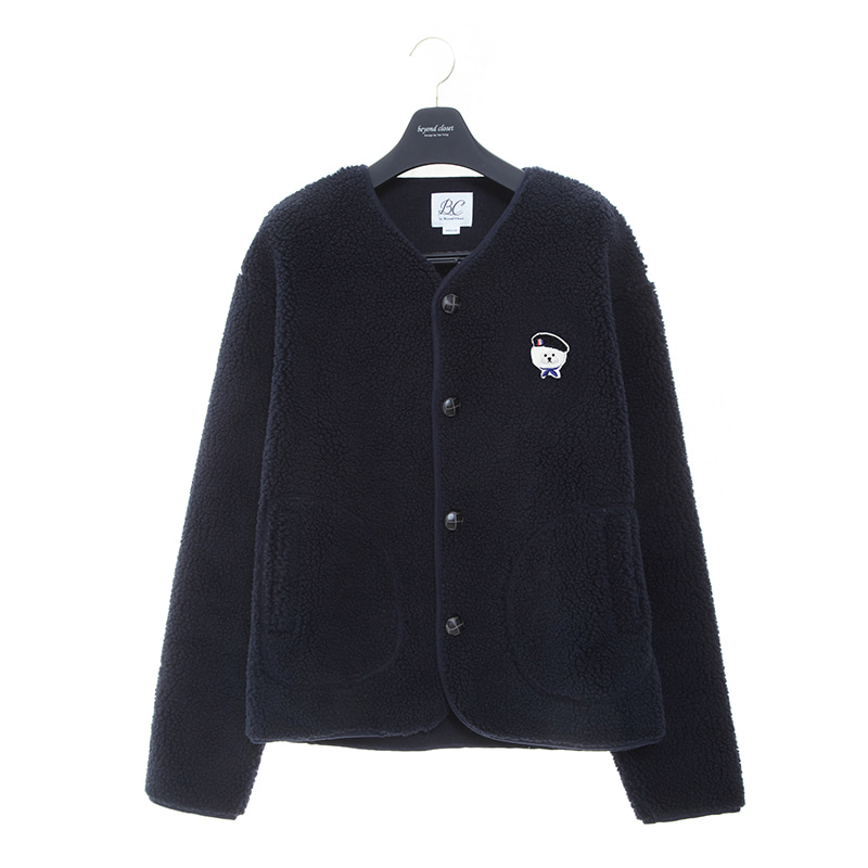 ILP SIGNATURE PARIS LOGO ECO-FUR CARDIGAN NAVY