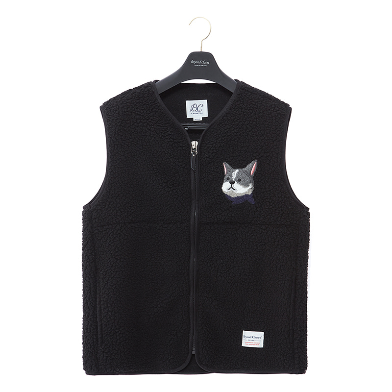 ILP HQ WAPPEN ECO-FUR VEST ZIP-UP BLACK