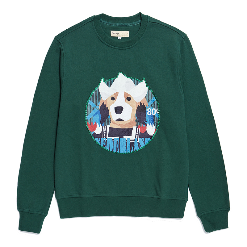 NETHERLANDS DOG PATCH SWEAT SHIRT GREEN