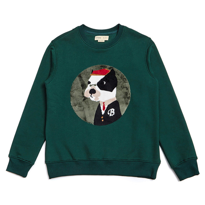 CLASSIC BULLDOG PATCH SWEAT SHIRT DEEP GREEN