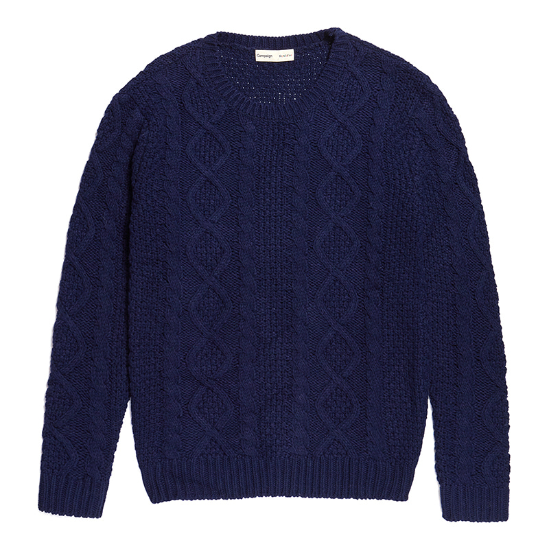 B-BOY DOG CABLE KNIT NAVY