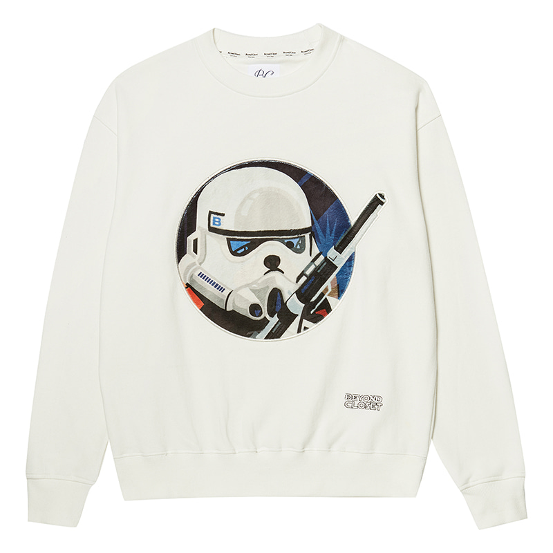 SPACE MOVIE SOLDIER DOG PATCH SWEAT-SHIRTS WHITE