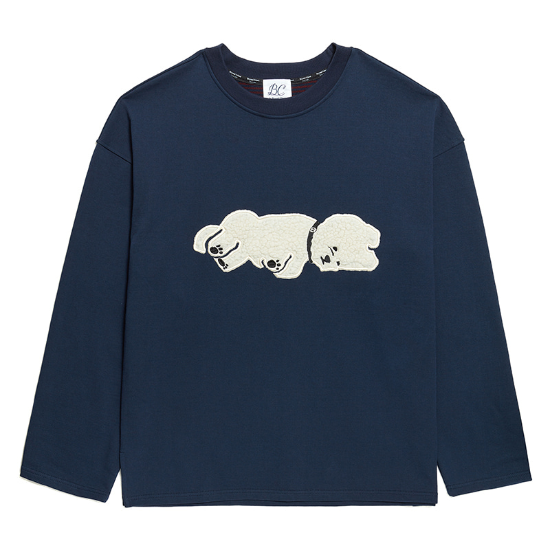 ILP APPLIQUE DOG BOTH-SIDE FABRIC T-SHIRTS NAVY
