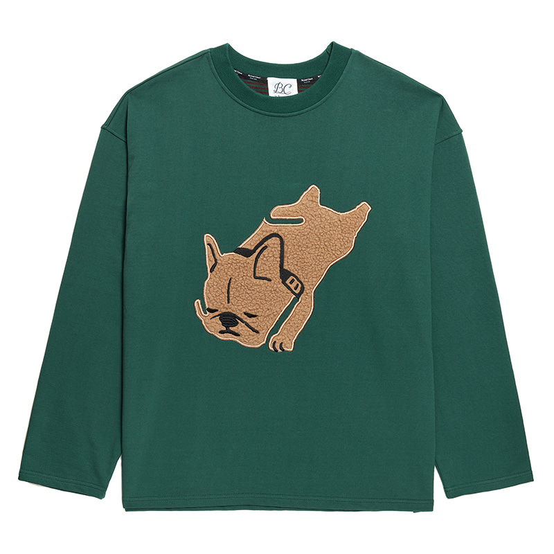 ILP APPLIQUE DOG BOTH-SIDE FABRIC T-SHIRTS GREEN