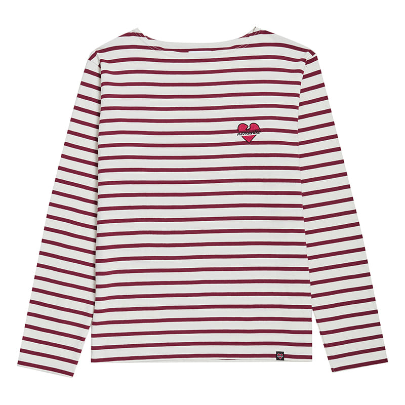 NOMANTIC CLASSIC BOAT NECK STRIPE T-SHIRTS BURGUNDY