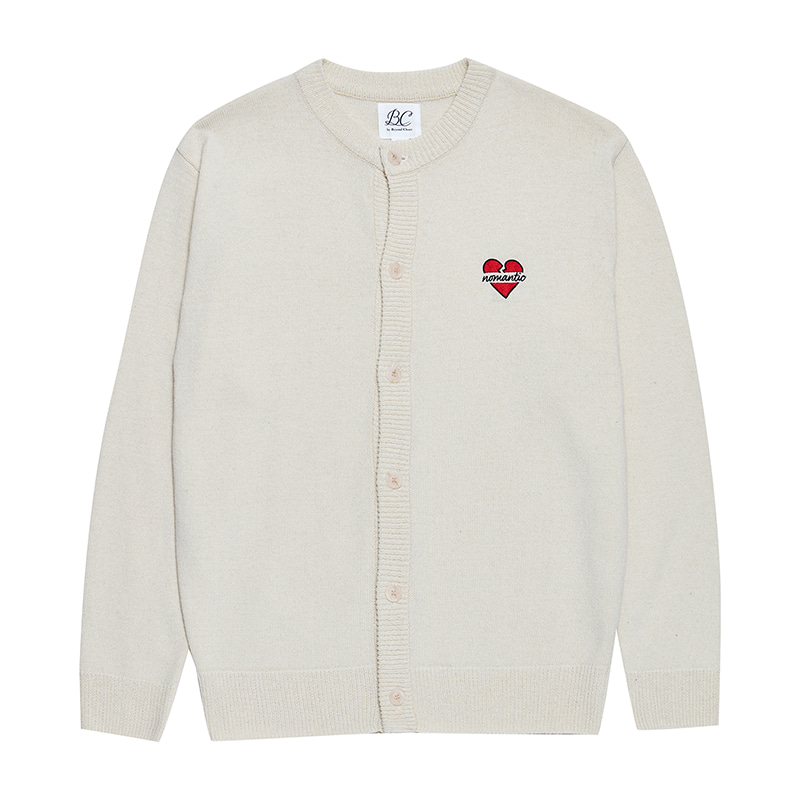 NOMANTIC LOGO KNIT WOOL ROUND CARDIGAN IVORY
