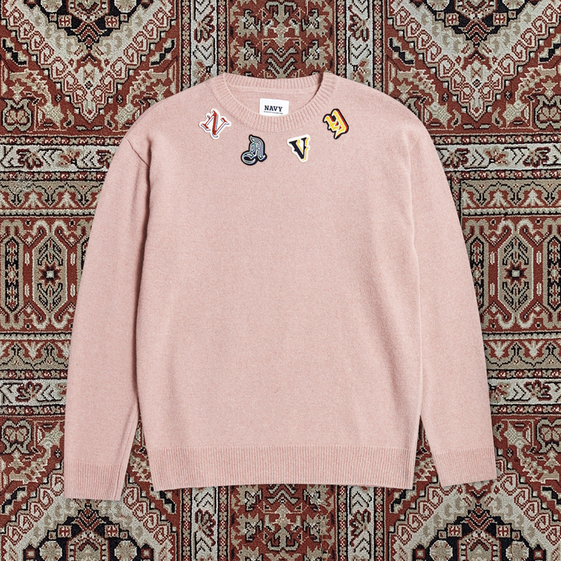 [10ARCHIVE]LAMBSWOOL CLASSIC WAPPEN KNIT CORAL PINK