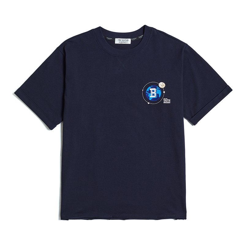 UNIVERSE LOGO CUTTING 1/2 T-SHIRTS NAVY