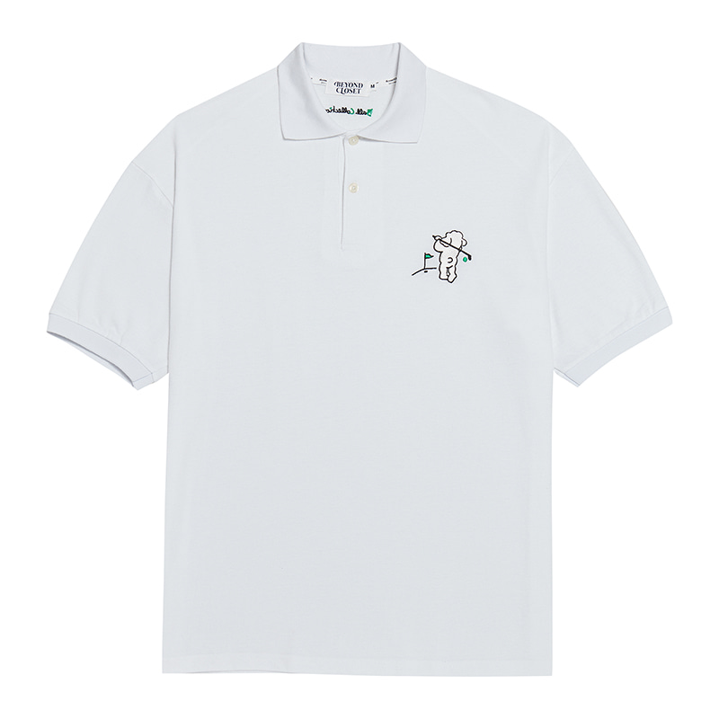 [Ball Collection]BC GOLF OVERSIZE PK 1/2 T-SHIRTS WHITE