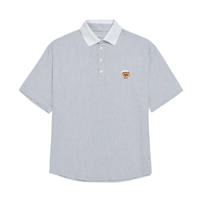 ILP SEERSUCKER SPORTS 1/2 SHIRTS NAVY
