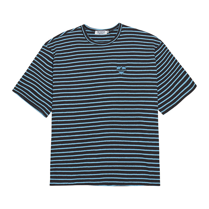 NOMANTIC SEERSUCKER COTTON STRIPE 1/2 T-SHIRTS GRAY