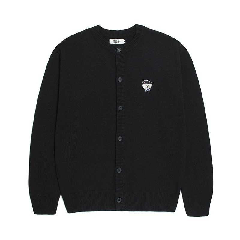 [10/28 출고]ILP SIGNATURE PARIS LOGO ROUND KNIT CARDIGAN BLACK