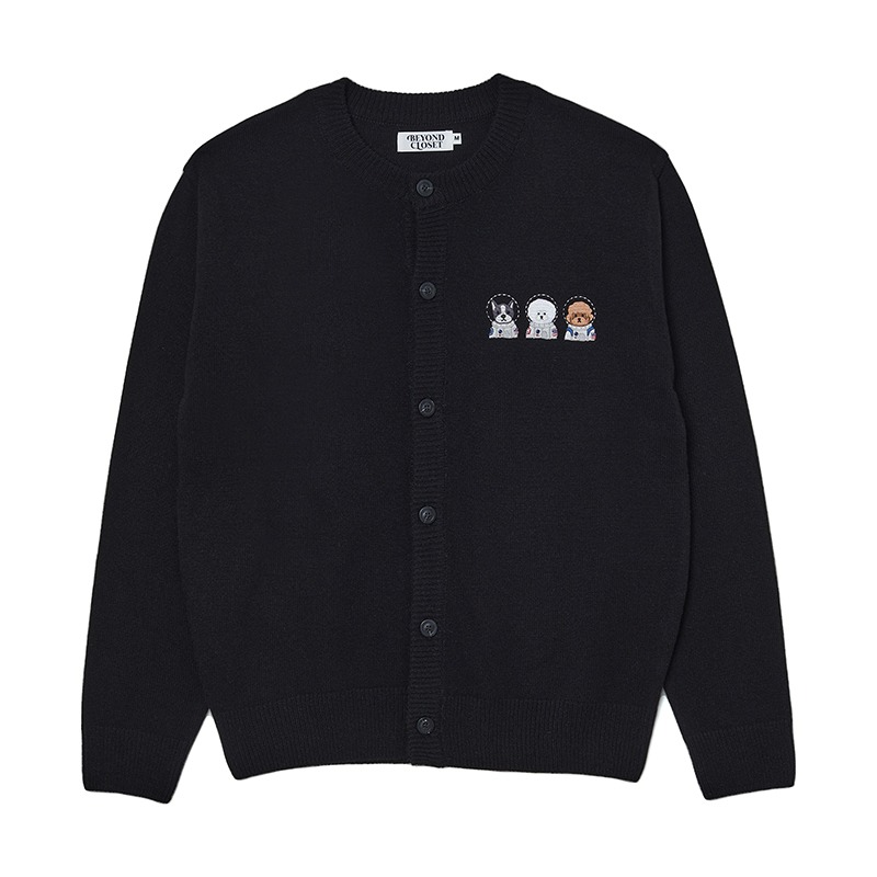 [M 10/14 출고]APOLLO COLLECTION CREW LOGO ROUND KNIT CARDIGAN BLACK