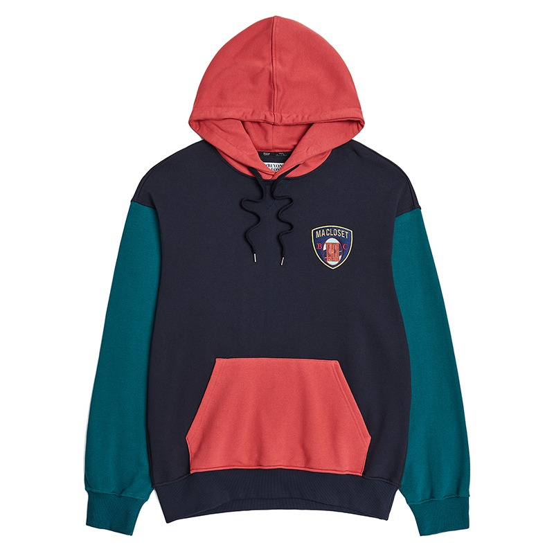 WAPPEN LOGO MULTI COLOR HOOD T-SHIRTS NAVY