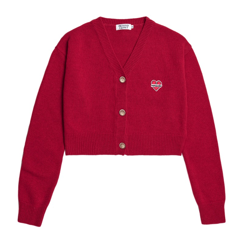 NOMANTIC LOGO CROP KNIT WOOL CARDIGAN RED