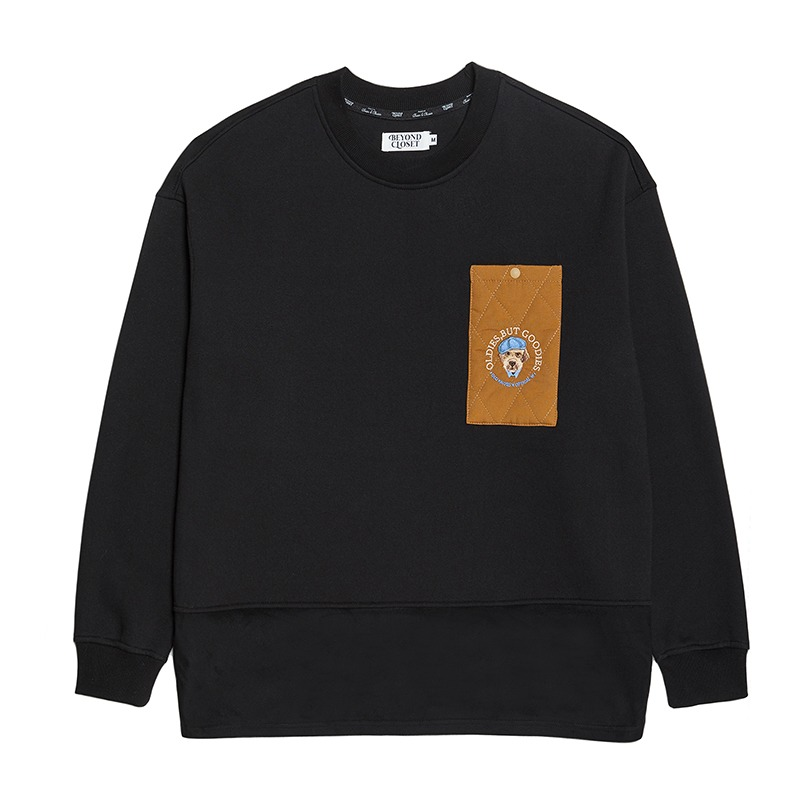 [기모]BOO COLLABORATION POCKET SWEAT SHIRTS BLACK