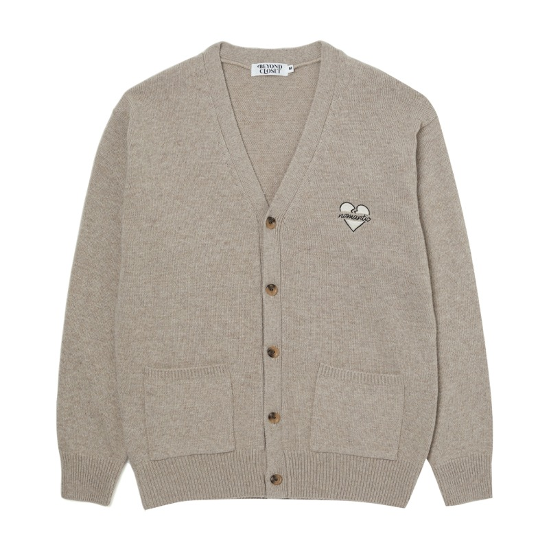 NOMANTIC LOGO KNIT WOOL CARDIGAN OATMEAL