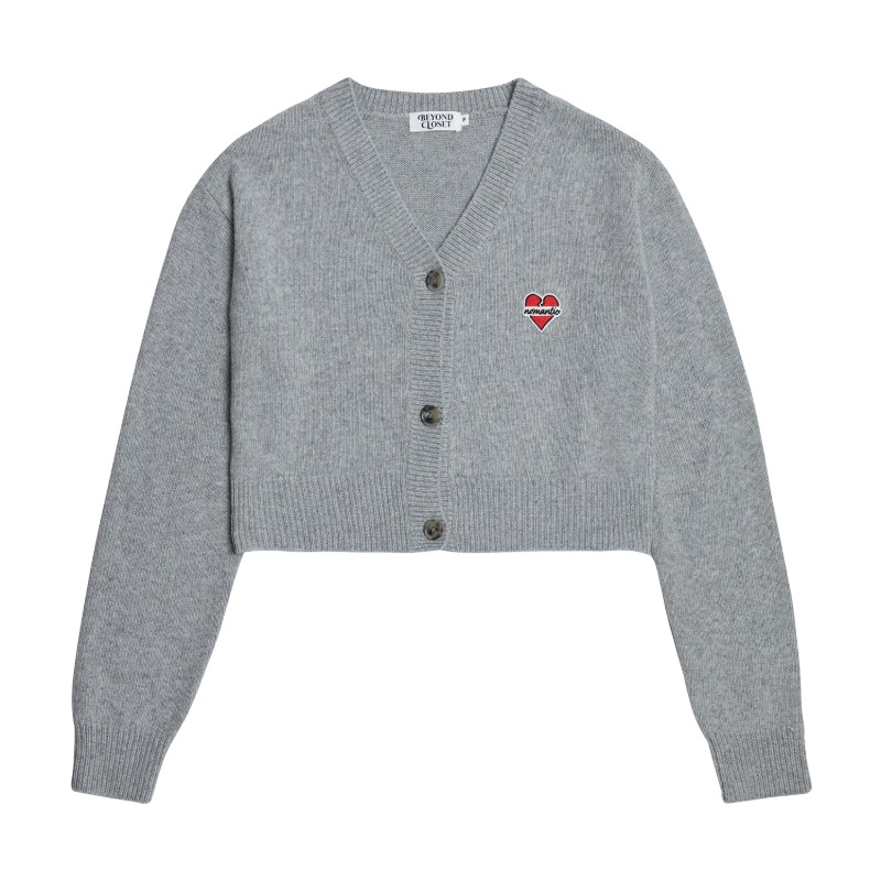NOMANTIC LOGO CROP KNIT WOOL CARDIGAN GRAY