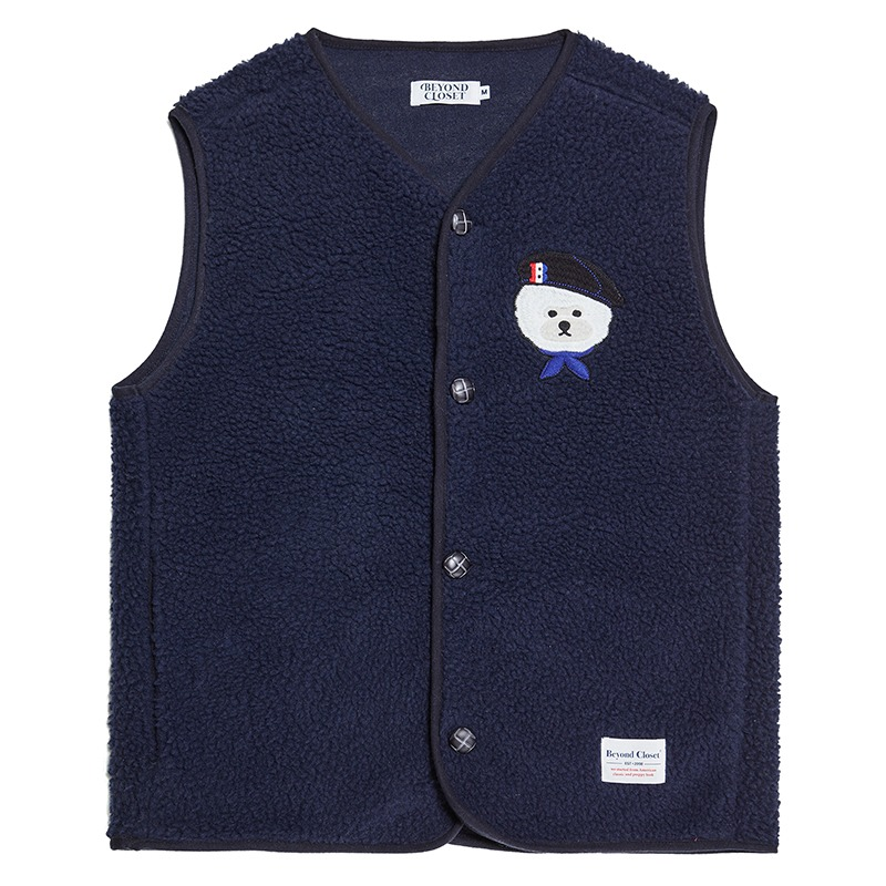 [12/11 출고]PARISIEN DOG WAPPEN FUR VEST NAVY