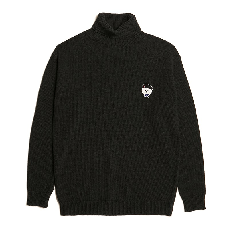 SIGNATURE LOGO CLASSIC WOOL TURTLE NECK KNIT BLACK