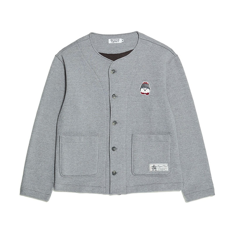 [기모]WINTER DOG LOGO HEAVY COTTON CARDIGAN GRAY