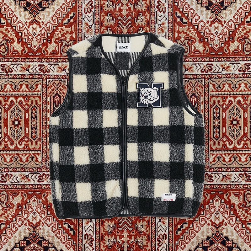 [10ARCHIVE]80'S IVY CHECK FUR VEST WHITE