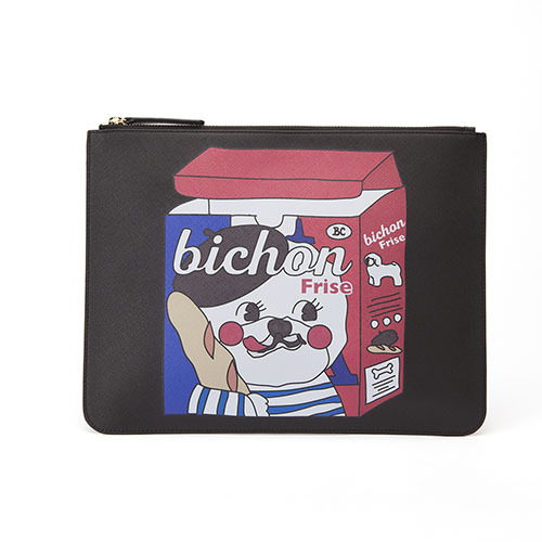 CHUCHU DOG LEATHER CLUTCH