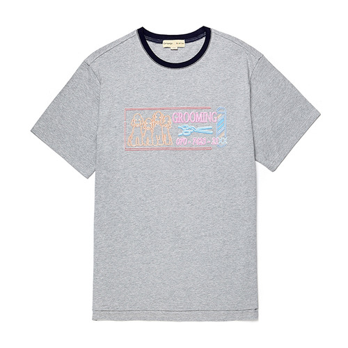 BARBERSHOP DOG 1/2 TS [NEON SIGN LINE] GRAY