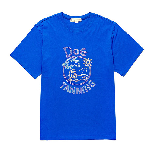 CAR-SUNSET DOG 1/2 TS [NEON SIGN LINE] BLUE