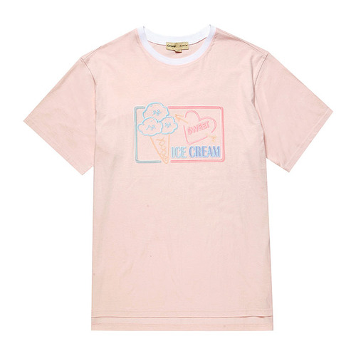 ICE CREAM DOG 1/2 TS [NEON SIGN LINE] INDI PINK