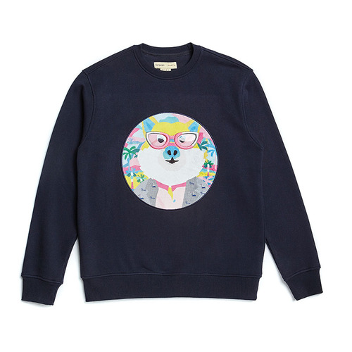 FUJI DOG PATCH SWEAT SHIRT NAVY