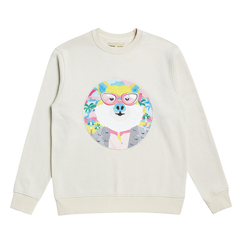 FUJI DOG PATCH SWEAT SHIRT IVORY