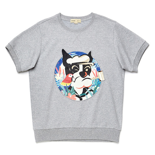 POP-SAILOR DOG PATCH 1/2 SWEAT SHIRT GRAY