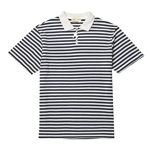 BASIC STRIPE ZIP COLLAR 1/2 TS NAVY