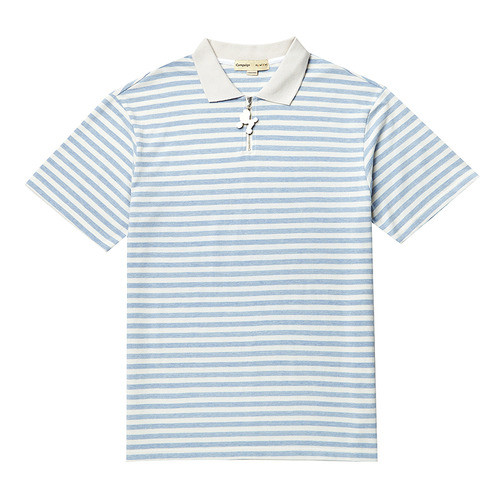 BASIC STRIPE ZIP COLLAR 1/2 TS SKY BLUE